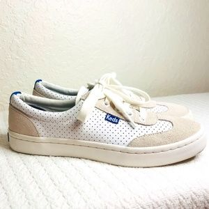 KEDS ORTHOLITE WHITE LEATHER/ TAN SUEDE